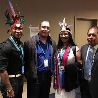 Tapia (chief Tureygua) with UCTP Chief Roberto Mukaro Borrero and Tai Pelli at The United Nations